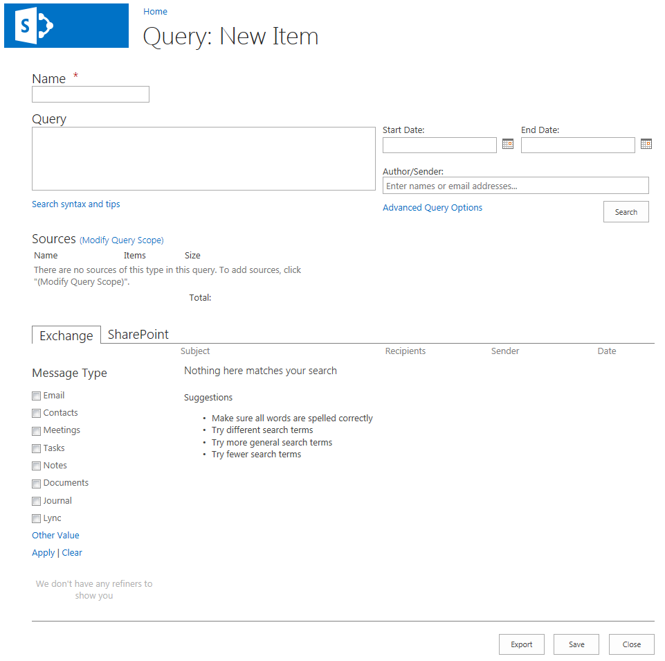 SharePoint 2013 eDiscovery Query Form